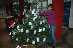 Seit Donnerstag steht wieder der Wunschbaum im Foyer des Landratsamtes Haßberge. Unser Bild zeigt Elisabeth Cichon vom Familienbüro, die den Baum behängt sowie deine Besucherin des Landratsamtes, die zusammen mit ihrem Sohn die Wunschzettel unter die Lupe nimmt. Foto: Moni Göhr/Landratsamt Haßberge
