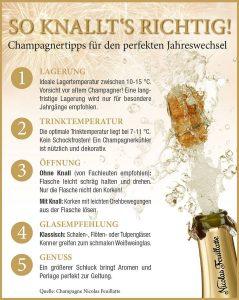 Von Fachleuten wird empfohlen, die Champagner-Flasche ohne großen Knall zu öffnen. 459 KB Foto: djd/Nicolas Feuillatte