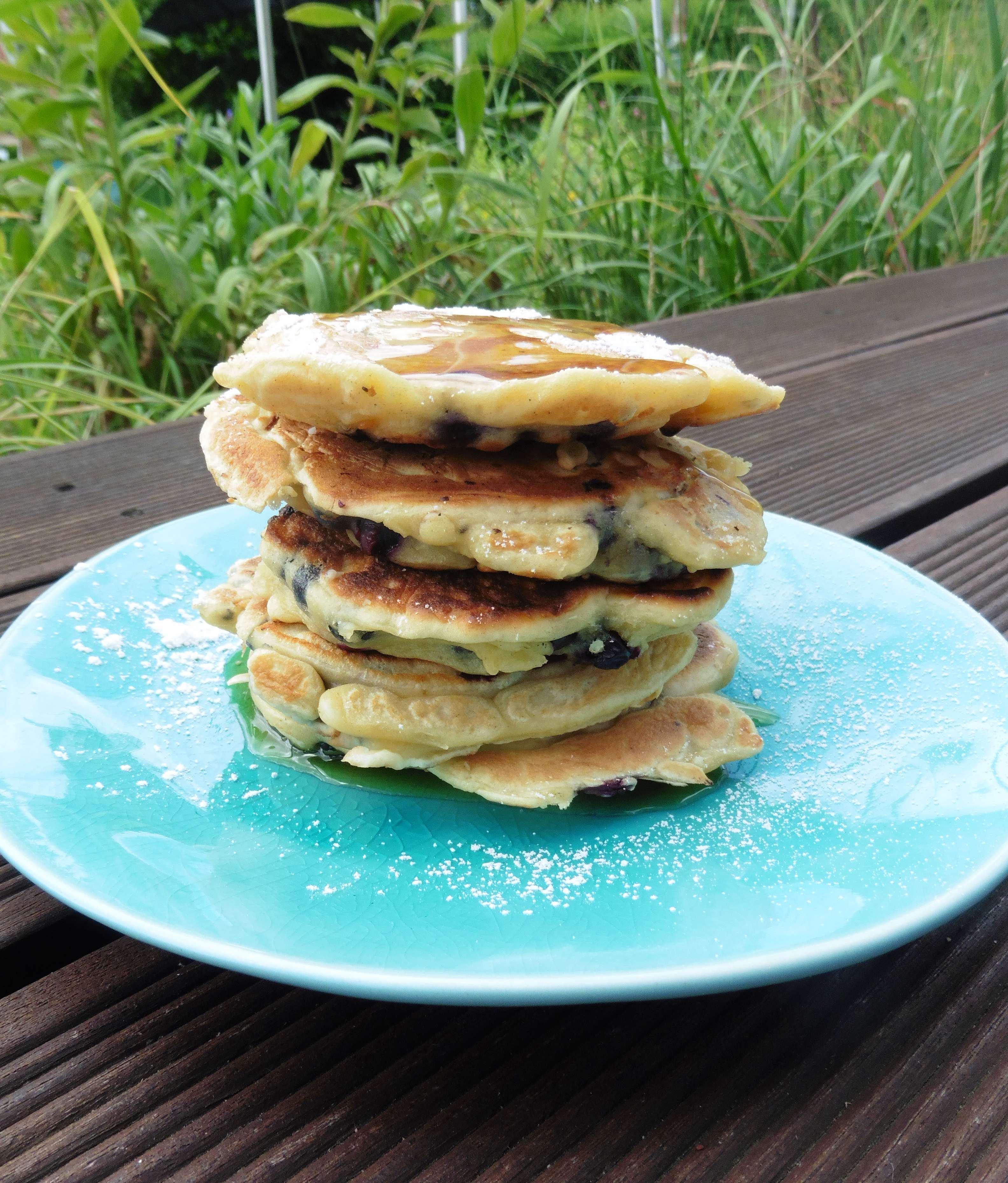 Blaubeer-Frischkäse-Pancakes