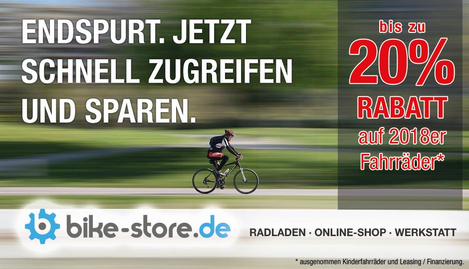 20% Rabatt auf 2018er Fahrräder im bikestore Haßfurt