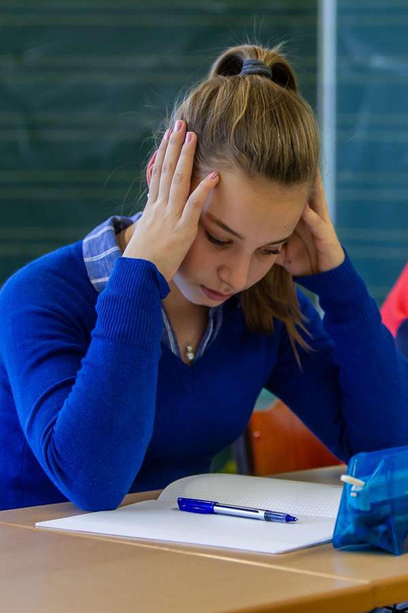 Schulstoff, Hausaufgaben und zum Teil der Druck der Lehrer führen ebenfalls zu Schulstress.